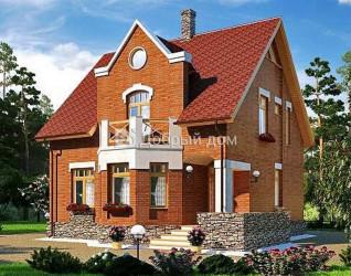 Дом 10.79 м × 10.03 м c двускатной крышей