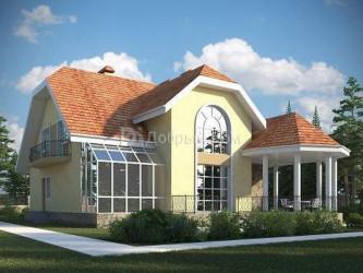 Дом 15.8 м × 14.9 м c мансардной крышей