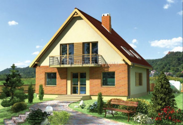 Дом 10.6 м × 10.6 м c двускатной крышей