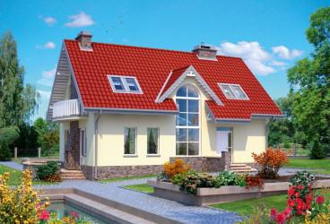 Дом 12.1 м × 7.7 м c двускатной крышей