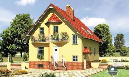 Дом 12.4 м × 9 м c двускатной крышей