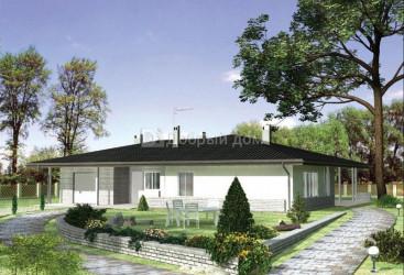 Дом 18.5 м × 16.4 м c четырехскатной крышей