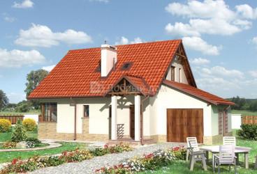 Дом 12.5 м × 9 м c двускатной крышей