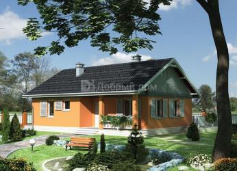 Дом 12.2 м × 8.9 м c двускатной крышей