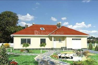 Дом 16.9 м × 12.4 м c четырехскатной крышей
