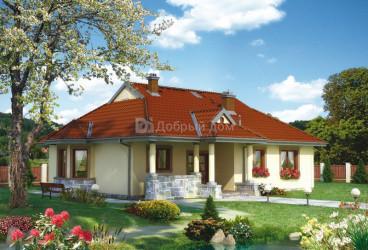Дом 15.2 м × 13.5 м c четырехскатной крышей