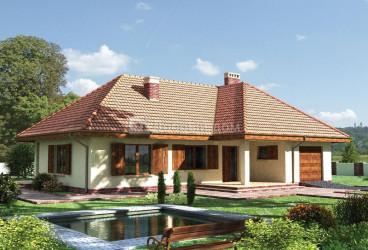 Дом 17.8 м × 16.9 м c четырехскатной крышей