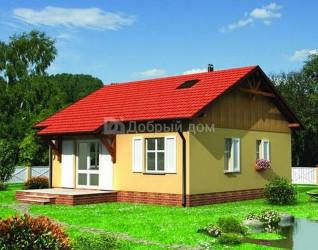 Дом 9.1 м × 8.8 м c двускатной крышей