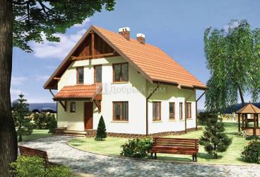 Дом 10 м × 9.4 м c двускатной крышей