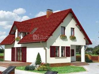 Дом 12.4 м × 8.2 м c мансардной крышей