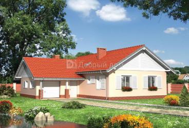 Дом 14.6 м × 14.4 м c двускатной крышей