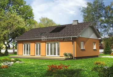Дом 14.3 м × 13.6 м c двускатной крышей