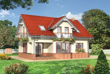 Дом 12.8 м × 12.8 м c мансардной крышей