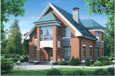 Дом 16.7 м × 10.6 м c двускатной крышей
