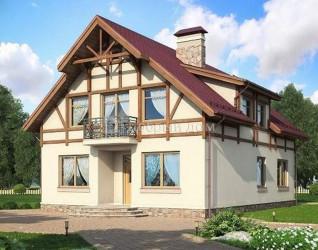 Дом 12.6 м × 9.4 м c двускатной крышей