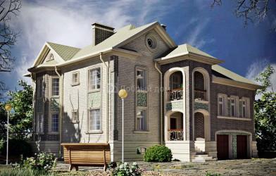 Дом 16.3 м × 15 м c четырехскатной крышей