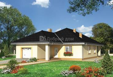 Дом 19.9 м × 11.7 м c четырехскатной крышей
