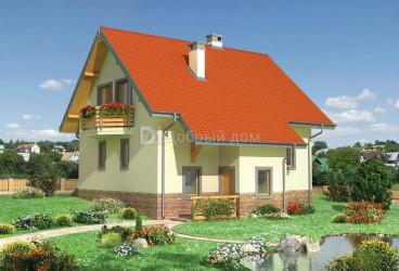 Дом 10.7 м × 8.6 м c двускатной крышей