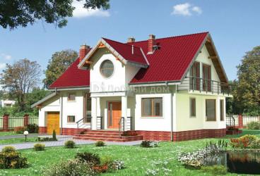 Дом 15.9 м × 9.9 м c двускатной крышей