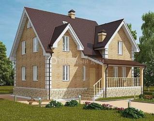 Дом 11.1 м × 10.8 м c двускатной крышей