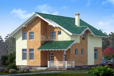 Дом 10.2 м × 10 м c двускатной крышей