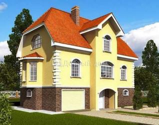 Дом 13.3 м × 9.3 м c мансардной крышей