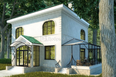 Дом 14.8 м × 13.5 м c четырехскатной крышей