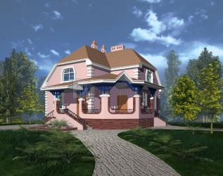 Дом 10.04 м × 10.04 м c мансардной крышей