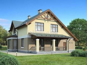 Дом 14.5 м × 13.3 м c двускатной крышей