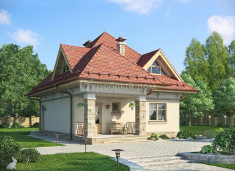 Дом 10.6 м × 8.6 м c четырехскатной крышей