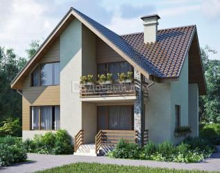 Дом 10.2 м × 9.6 м c двускатной крышей