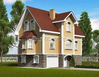 Дом 11.5 м × 8.7 м c двускатной крышей