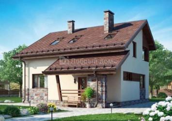 Дом 10.9 м × 10.6 м c двускатной крышей