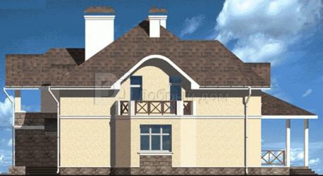 Дом 15.5 м × 13.3 м c мансардной крышей