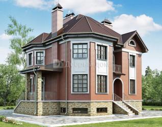 Дом 12.5 м × 12.5 м c мансардной крышей