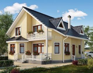 Дом 13.4 м × 9.9 м c двускатной крышей