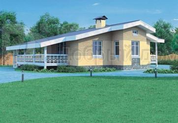 Дом 14.6 м × 14 м c двускатной крышей