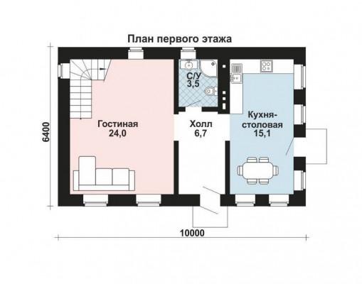 Дом 9.6 м × 6 м c четырехскатной крышей