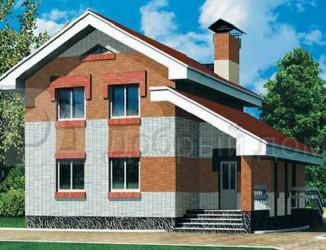 Дом 9.3 м × 9 м c двускатной крышей