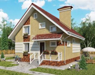 Дом 8.2 м × 8.2 м c двускатной крышей