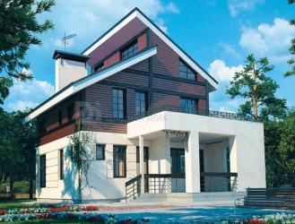 Дом 11.4 м × 8.4 м c двускатной крышей