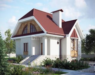 Дом 8.7 м × 8.4 м c двускатной крышей