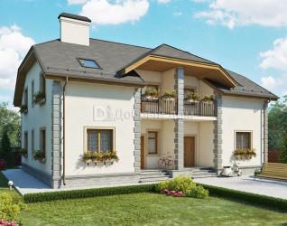 Дом 15.4 м × 12 м c мансардной крышей