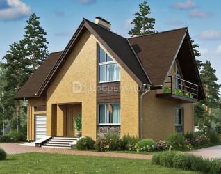 Дом 11.4 м × 10.2 м c мансардной крышей
