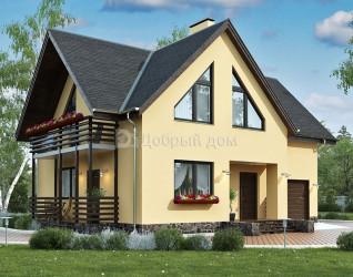Дом 11.7 м × 10.3 м c мансардной крышей