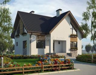 Дом 10.8 м × 9.6 м c двускатной крышей