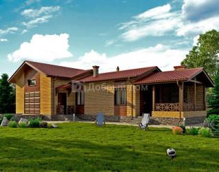 Дом 18 м × 7 м c двускатной крышей