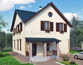 Дом 13.3 м × 9.8 м c мансардной крышей