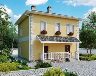 Дом 9 м × 8.8 м c четырехскатной крышей