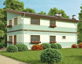 Дом 13.2 м × 6.7 м c односкатной крышей
